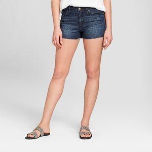 High-Rise Faded Jean Shorts Dark Wash